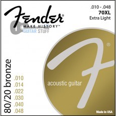 Струны Fender 70XL Bronze Extra Light (010-048) для акустической гитары